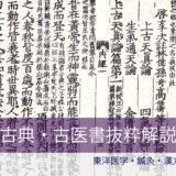 古典古医書抜粋解説(C)東洋医学・鍼灸・漢方辞典dictionary oriental medicine