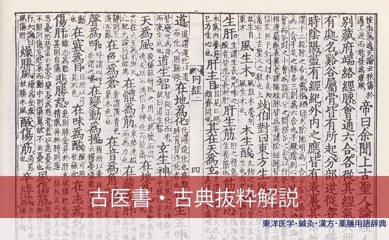 古典古医書抜粋解説 (C)東洋医学・鍼灸・漢方辞典dictionary oriental medicine